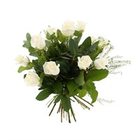 12 Long Stem White Roses Hand Tied Valentine's Day Bouquet