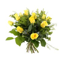 12 Long Stem Yellow Roses Hand Tied Valentine's Day Bouquet