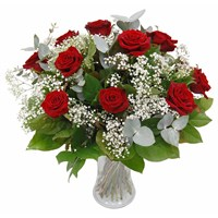 12 Long Stem Red Roses and Gypsophila Hand Tied Valentine's Day Bouquet
