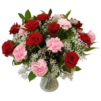 Long Stem Red Roses, Gypsophila & Carnations Hand Tied Valentine's Day Bouquet