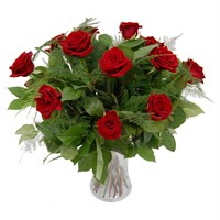 12 Long Stem Red Roses Hand Tied Valentine's Day Bouquet