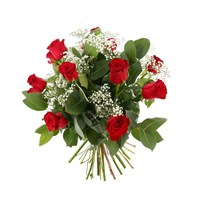 12 Short Stem Red Roses & Gypsophila Hand Tied Valentine's Day Bouquet