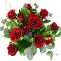 12 Short Stem Roses Hand Tied Valentine's Day Bouquet