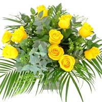 Long Stem 12 Yellow Roses Hand Tied Valentine's Day Bouquet
