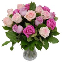 Mixed Pink Roses Hand Tied Valentine's Day Bouquet