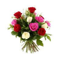 24 Long Stem Red, Pink & White Roses Hand Tied Valentine's Day Bouquet