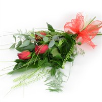 3 Kisses Long Stem Red Roses Hand Tied Valentine's Day Sheaf