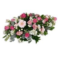 With Sympathy Flowers - 3ft Pink & Cream Single Ended Spray