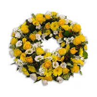 With Sympathy Flowers - Yellow and White Loose Wreath 12inch