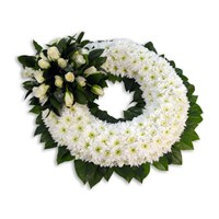 With Sympathy Flowers - Chrysanthemum Based Wreath 14inch