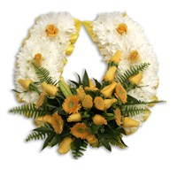 With Sympathy Flowers - Chrysanthemum Based Horse Shoe 13inch