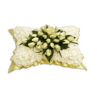 With Sympathy Flowers - Cream Carnation Based Pillow 15inch