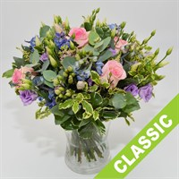 Pink, Lilac & Blue Handtied Bouquet - Classic