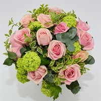 Pink Rose & Viburnum Hand Tied Bouquet