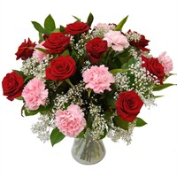 12 Roses & Carnations Hand Tied Bouquet