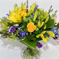 Baby Boy Yellow & Blue Hand Tied Bouquet