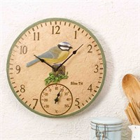 Outside-In Blue Tit 12in Wall Clock and Thermometer (5064003)