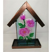 Fountasia Pink Rose Stained Glass & Metal Hanging Wild Bird Feeder (35028)