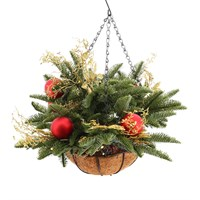 All For Christmas Pre-Lit 30 Warm White LEDs Pre-Decorated Gold & Red Bauble Hanging Basket - 50 x 40cm (AFC-F19DL03)