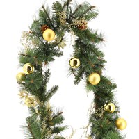 All For Christmas Pre-Lit Carolina 80 Warm White LEDs Battery Operated Decorated Garland - 9ft (AFC-SJ1905GL-9)
