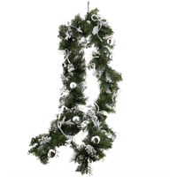 All For Christmas Pre-Lit Bristle 80 Warm White LEDs Battery Operated Decorated Garland - 9ft (AFC-SJ1906GL-9)