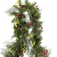All For Christmas Pre-Lit Wintry 80 Warm White LEDs Decorated Garland - 9ft (AFC-SJ1907GL-9)