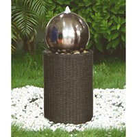 Aqua Creations Medium Stainless Steel Sphere on Wicker Column Water Feature (PWF2635)
