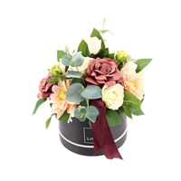 Vintage Pink & Cream Artificial Flower Hat Box Arrangement
