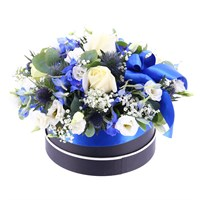 Baby Boy Luxury Blue Floral Hat Box Arrangement