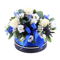 Baby Boy Classic Blue Floral Hat Box Arrangement