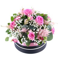 Baby Girl Classic Pink Floral Hat Box Arrangement