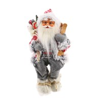 Cheng Kuo Sitting Santa with Giftbag & Skis - 16in/41cm (CK606-K525)