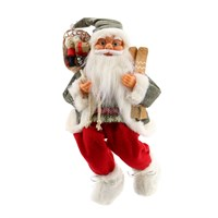 Cheng Kuo Sitting Santa With Giftbag & Skis - 18in/46cm (CK606-K77)