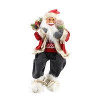 Cheng Kuo Sitting Santa With Bag & Snowshoes (Red/Grey) - 18in/46cm (CK616-K273)