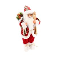 Cheng Kuo Standing Santa with Bag & Skis (Red) - 16in/40cm (CK616-K411)