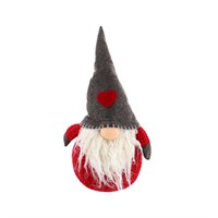 Cheng Kuo Gnome Décor With Heart Pattern Hat (Red/Grey) - 19 x 15 x 34cm (CK68-K230)