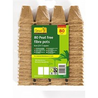 Gardman Peat Free Fibre Pots - 6cm Square Value Pack (80 pack) (08311)