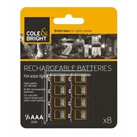 Cole & Bright AAA Rechargeable Batteries - pack of 8 (18145)
