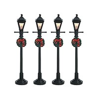 Lemax Christmas Village - Gas Lantern Street Lamp - Set of 4 - Battery Operated (64498)