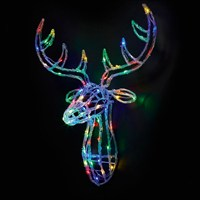 Premier 70cm Acrylic Lit Reindeer Head - Multi Coloured (LV161128M) Christmas Lights
