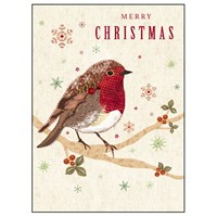 Noel Tatt 8  Pack Charity Christmas Cards - Robin on Branch - 12.5x17cm (41515)