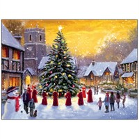 Noel Tatt 8  Pack Charity Christmas Cards - Town Hall Scene - 12.5x17cm (41517)
