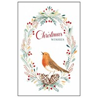 Noel Tatt 8  Pack Charity Christmas Cards - Robin in Wreath - 10x15cm (41536)
