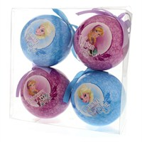 Festive Disney's Frozen Pack of 4 Decoupage Balls Hanging Decoration (P005113)
