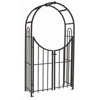 Panacea Arched Top Garden Arch with Gate - Black (84342)