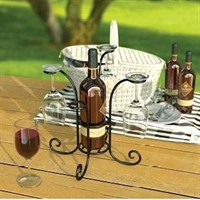 Panacea Wine Bottle and Glasses Caddy - Black (87939)