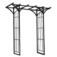 Panacea Flat Top Garden Arch with Finials - Black (89088)