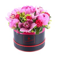 Peonie Floral Hat Box Arrangement - Small