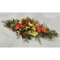With Sympathy Flowers - Yellow and Red Double Ended Spray 4ft