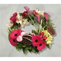 With Sympathy Flowers - Modern Pink Loose Grouped Wreath 12inch